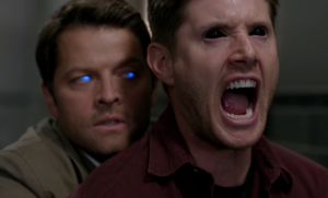 Supernatural-s10-ep03-Castiel-hugging-a-screaming-Dean-from-behind