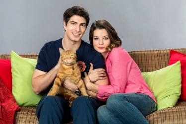 THE NINE LIVES OF CHRISTMAS-With Christmas approaching, a handsome fireman afraid of commitment adopts a stray cat and meets a beautiful veterinary student who challenges his decision to remain a confirmed bachelor. Photo (Left to right): Brandon Routh, Kimberley Sustad Photo Credit: Copyright 2014 Crown Media United States, LLC/Photographer: Katie Yu