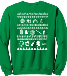 superwholock christmas sweater green