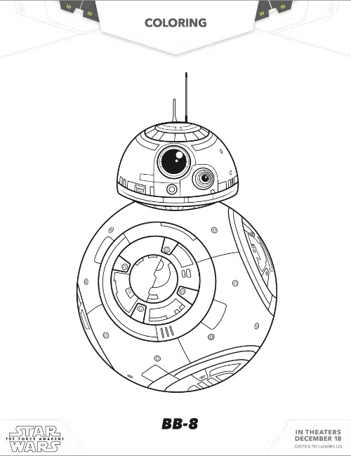 Star Wars Release Day BB8 Coloring Page